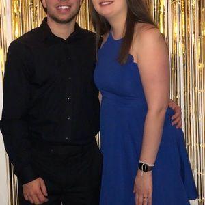 Romwe Royal Blue Scalloped Dress